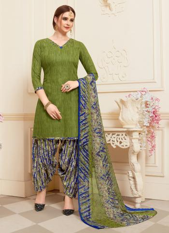 Daily Wear Green Printed Work Cotton Patiyala Suit