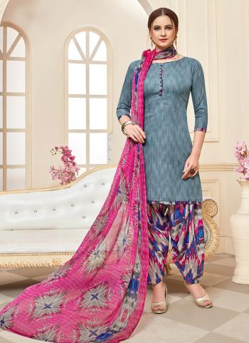 Daily Wear Grey Printed Work Cotton Patiyala Suit