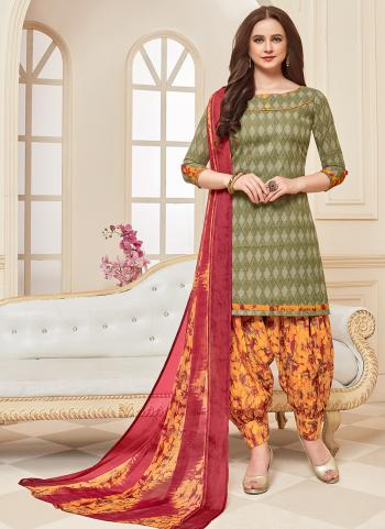 Daily Wear Olive Green Printed Work Cotton Patiyala Suit