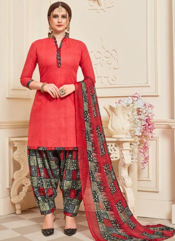 Daily Wear Red Printed Work Cotton Patiyala Suit
