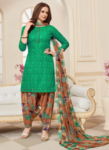 Daily Wear Sea Green Printed Work Cotton Patiyala Suit