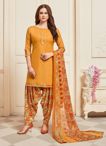 Daily Wear Yellow Printed Work Cotton Patiyala Suit