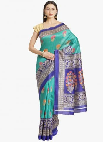 Casual Wear Teal Blue Bhagalpuri Silk Printed Work Saree