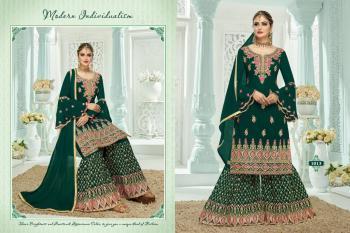 Festival Wear Dark Green Georgette Embroidery Work Sharara Suit