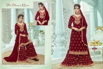 Festival Wear Maroon Georgette Embroidery Work Sharara Suit