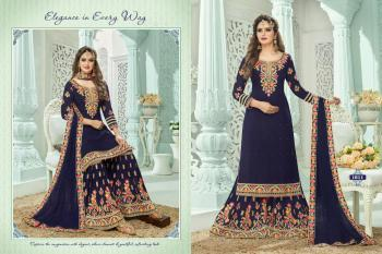 Festival Wear Navy Blue Georgette Embroidery Work Sharara Suit