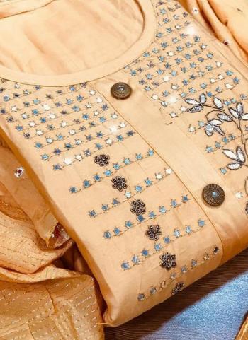 Casual Wear Peach Cotton Hand Work Dress Material