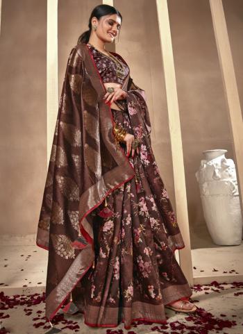 Festival Wear Brown Silk Digital Printed Saree