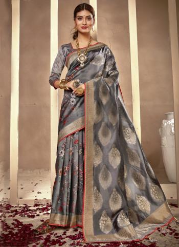 Festival Wear Grey Silk Digital Printed Saree