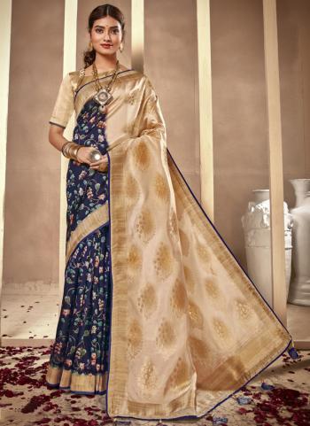 Festival Wear Navy Blue Silk Digital Printed Saree
