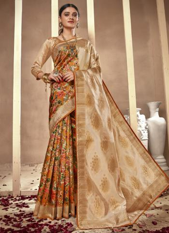 Festival Wear Orange Silk Digital Printed Saree