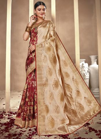 Festival Wear Red Silk Digital Printed Saree