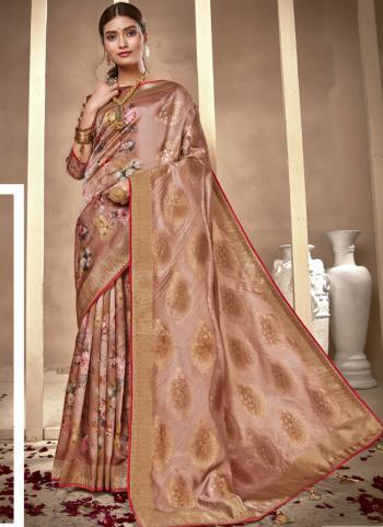 Festival Wear Rose Gold Silk Digital Printed Saree
