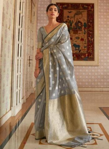 Traditional Wear Grey Pure Modal Weaving Saree