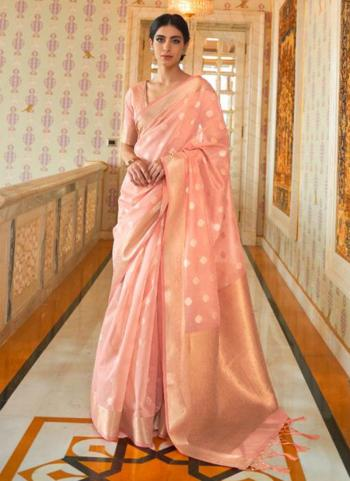 Traditional Wear Peach Pure Modal Weaving Saree