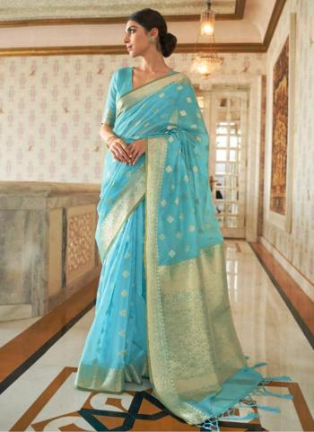Traditional Wear Sky Blue Pure Modal Weaving Saree