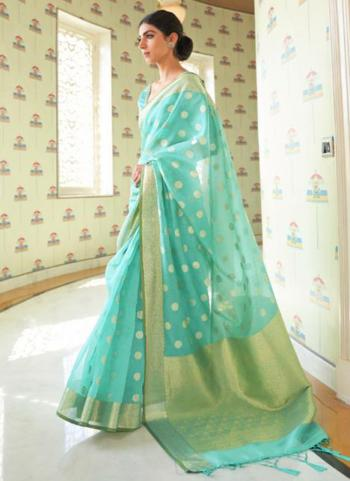 Traditional Wear Teal Blue Pure Modal Weaving Saree
