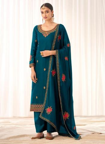 Traditional Wear Blue Tussar Silk Embroidery Work Palazzo Suit