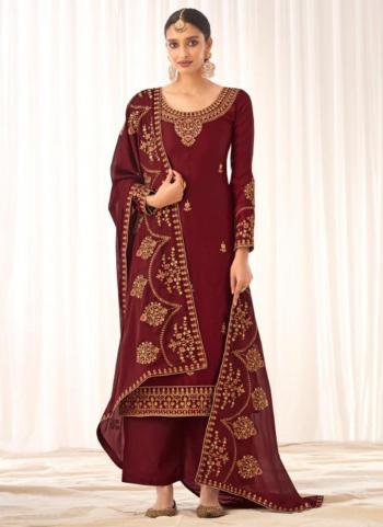 Traditional Wear Maroon Tussar Silk Embroidery Work Palazzo Suit