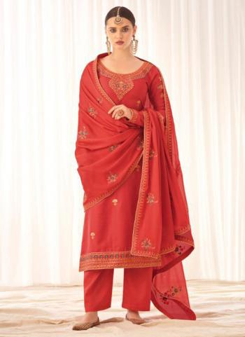 Traditional Wear Pink Tussar Silk Embroidery Work Palazzo Suit