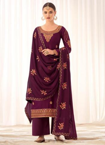 Traditional Wear Wine Tussar Silk Embroidery Work Palazzo Suit