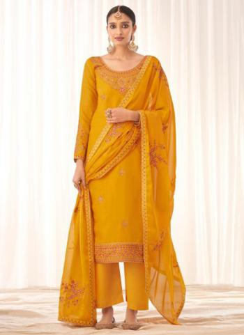 Traditional Wear Yellow Tussar Silk Embroidery Work Palazzo Suit