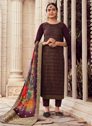 Traditional Wear Brown Swarovski Work Pure Silk Straight Suit
