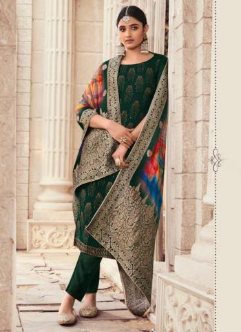 Traditional Wear Dark Green Swarovski Work Pure Silk Straight Suit