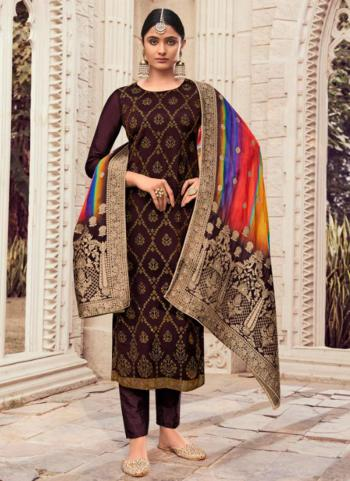 Traditional Wear Wine Swarovski Work Pure Silk Straight Suit