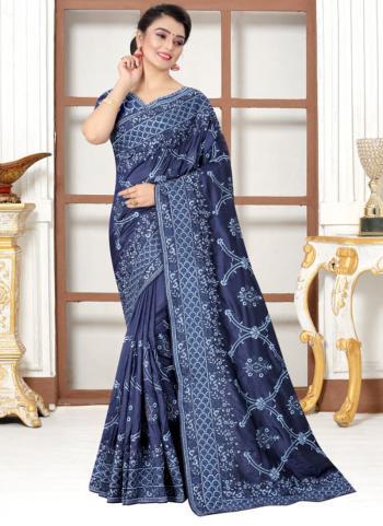 Wedding Wear Navy Blue Resham Work Modal Silk Saree