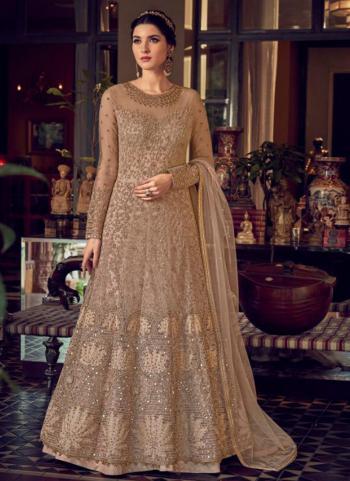 Wedding Wear Brown Embroidery Work Net Anarkali Suit