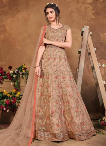 Reception Wear Brown Embroidery Work Net Anarkali Suit