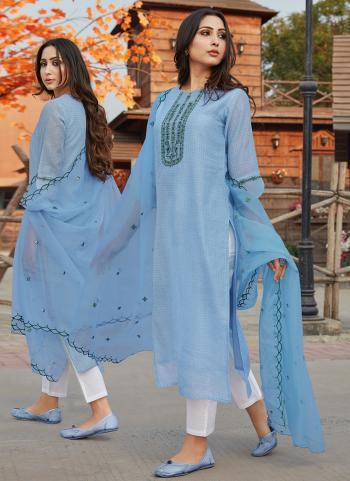 Festival Wear Blue Embroidery Work Chanderi Silk Readymade Salwar Suit