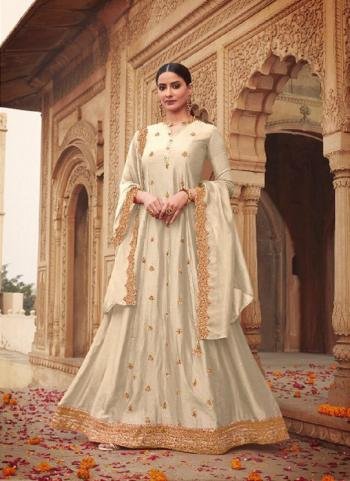 Party Wear Cream Khatli Work Russian Silk Gown With Dupatta