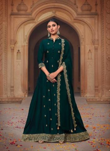 Party Wear Rama Khatli Work Russian Silk Gown With Dupatta