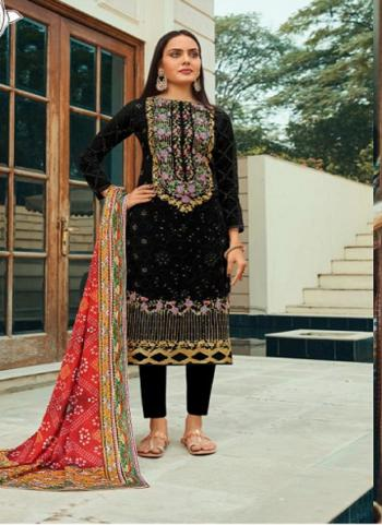 Festival Wear Black Embroidery Work Pure Net Straight Suit