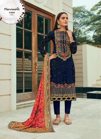 Festival Wear Navy Blue Embroidery Work Pure Net Straight Suit