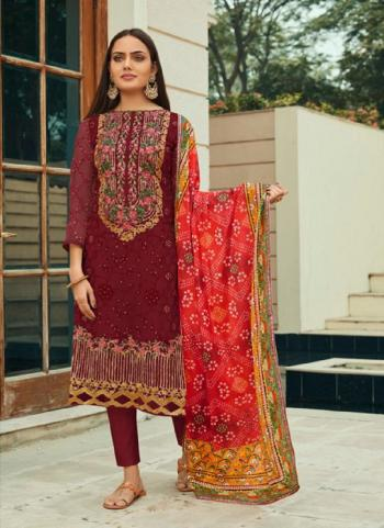 Festival Wear Violet Embroidery Work Pure Net Straight Suit