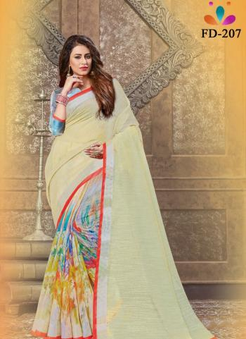 Festival Wear Cream Digital Printed Linen Saree