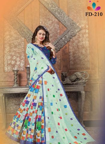 Festival Wear Pista Green Digital Printed Linen Saree