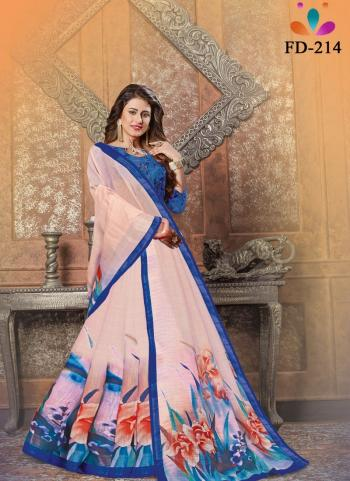 Casual Wear Light Pink Digital Printed Pure Cotton Saree