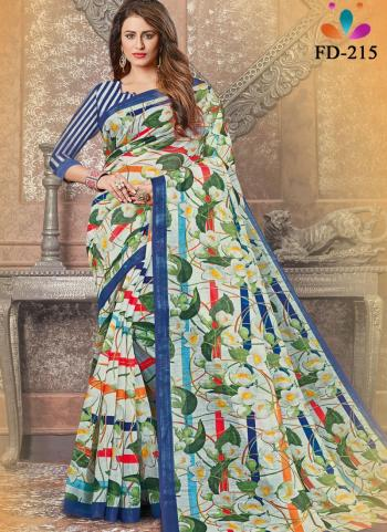 Casual Wear Light green Digital Printed Pure Cotton Saree