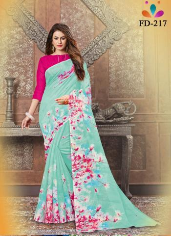 Casual Wear Sky Blue Digital Printed Pure Cotton Saree