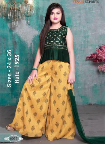 Festival Wear Dark Green And Yellow Readymade Kids Palazzo Suit