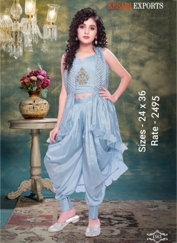 Festival Wear Ice Blue Designer Kids Crop Top With Dhoti And Jacket