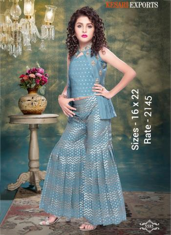 Festival Wear Ice Blue Kids New Designer Crop Top With Sharara And Jacket