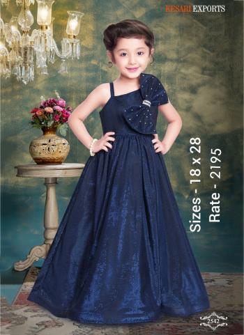 Festival Wear Navy Blue  Fancy Embroidery Work Readymade Kids Gown