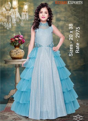 Festival Wear Sky Blue Fancy Embroidery Work Readymade Kids Gown