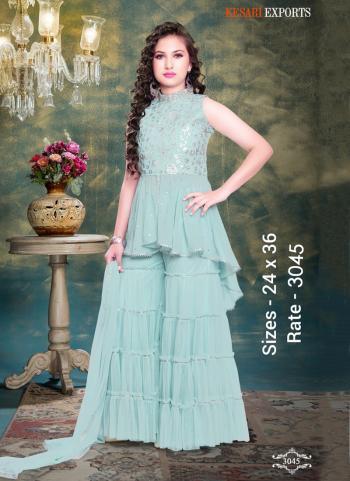 Festival Wear Teal Blue New Designer Kids Sharara Suits