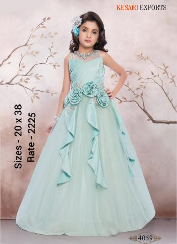 Festival Wear Turquois Blue Fancy Stylish Party Wear Kids Gown